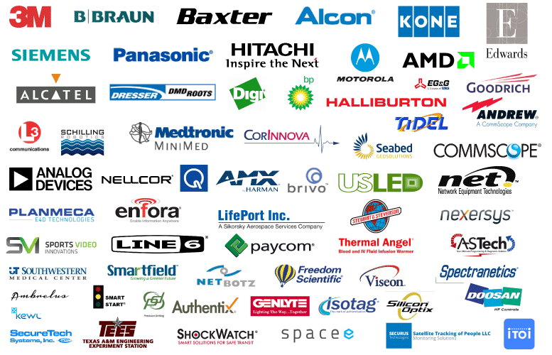 Paragon Innovations Client include 3M, Baxter, Braun, AMD, Alcon, Siemans, Panasonic, Hitchi, Motorola, Edwards, Alcatel, Dresser DMD Roots, Halliburton, Spectranetics, Goodrich, L3, Alstom Automation, Medtronic, Digi, Tidel, NET Network Equipment Technologies, Analog Devices, Nellcor, Quest, EGG, USLED, Andrew.